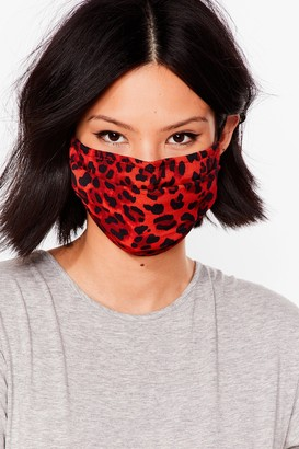 Nasty Gal Womens Go Wild Leopard Fashion Face Mask - Red - ONE SIZE
