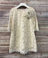 Precious Kids Girls' Casual Dresses Champagne - Champagne Flower Lace Shift Dress - Toddler & Girls