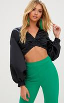 PrettyLittleThing Black Balloon Sleeve Satin Bardot Crop Top