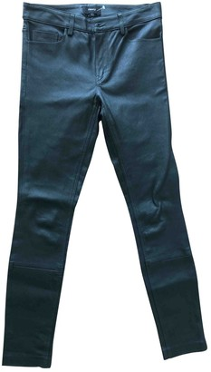 Theory Green Leather Trousers