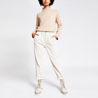 River Island Cream corduroy high rise tapered trousers