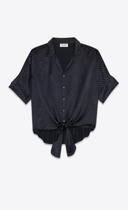 Saint Laurent Classic Shirts Tie-up Shark-collar Shirt In Micro-studded Silk Satin Silver Marine 14