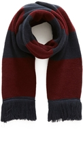 The Idle Man Varsity Stripe Scarf Burgundy & Navy