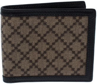 Gucci Beige/Black Diamante Canvas and Leather Bi Fold Wallet