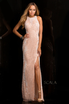 Scala 48665 High Neck Sequins Prom Dress with Side Slit