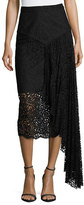 Milly Lace Pencil Midi Skirt w/ Side Cascade, Black