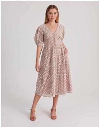 Piper Short Puff Sleeve Broderie Dress Dusty