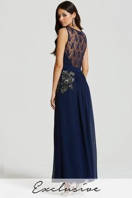 Little Mistress Blue Embellished Sheer Lace Maxi Dress