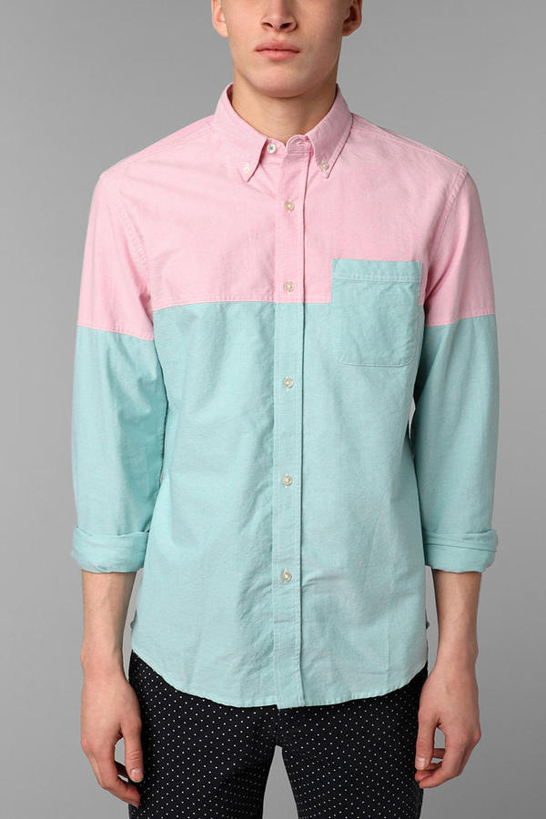 Urban Outfitters Hawkings McGill Colorblock Pinpoint Oxford Shirt