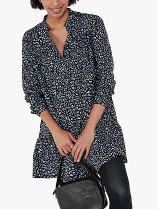 Hush Malia Leopard Print Shirt Dress, Black/Blue
