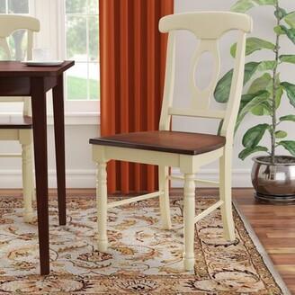 Laurèl Shelburne Solid Wood Dining Chair (Set of 2 Foundry Modern Farmhouse Color: Merlot / Buttermilk
