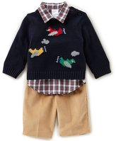 Starting Out Baby Boys 3-24 Months Plane Sweater, Button-Down Shirt, & Pants 3-Piece Set