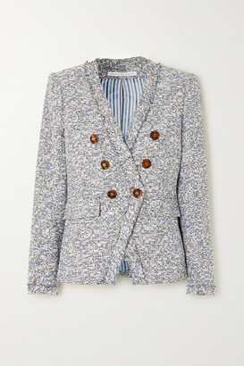 Veronica Beard Cedric Dickey Double-breasted Frayed Cotton-blend Tweed Blazer - Gray