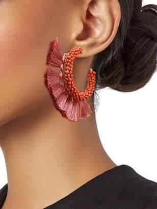 Panacea Beaded Tassel C Hoop Earrings