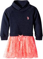 U.S. Polo Assn. Little Girls' French Terry and Neon Lace Dress