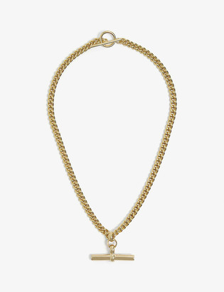 Tilly Sveaas Ltd T-bar 23ct gold-plated sterling silver choker necklace