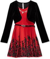 Beautees 2-Pc. Velvet Shrug & Belted Skater Dress Set with Necklace, Big Girls Plus (8-20)