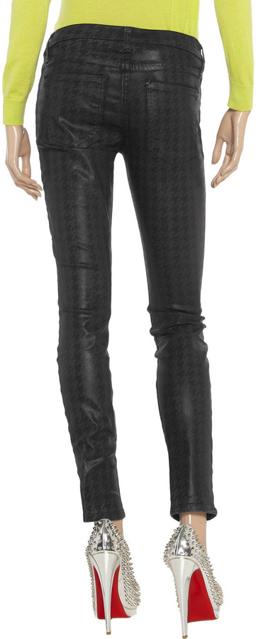 Current/Elliott The Ankle Skinny coated printed low-rise skinny jeans