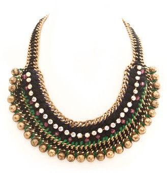 Marc Labat Ethnic Chic 13H4 Women's Choker Necklace - Gold-Plated Metal with Rhinestones - 45 cm