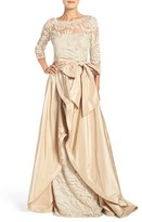 Rickie Freeman For Teri Jon Women's Embroidered Mesh Gown With Taffeta Overlay