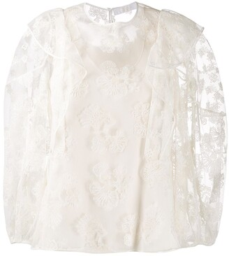 Chloé Floral Embroidered Tulle Blouse