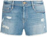 Frame Le Cutoff Distressed Stretch-denim Shorts - Mid denim