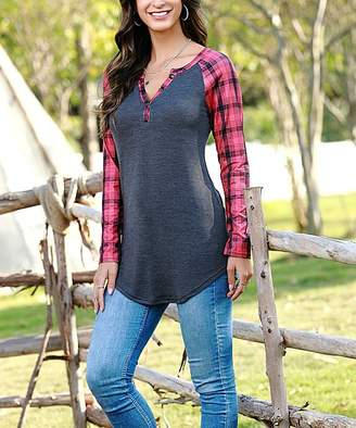 Reborn Collection Women's Tunics charcoal&pink - Charcoal & Pink Plaid Henley Tunic - Women & Plus