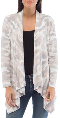 Bobeau B Collection by Amie Camo Waterfall Cardigan