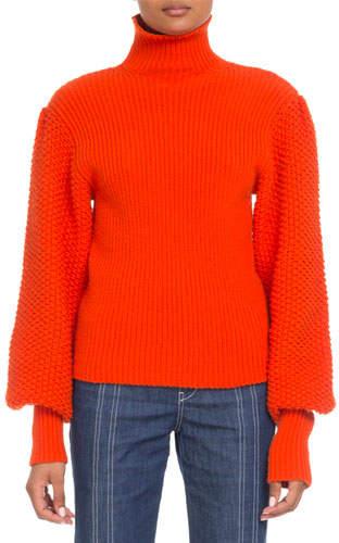 Chloé Wool-Cashmere Balloon-Sleeve Turtleneck Sweater