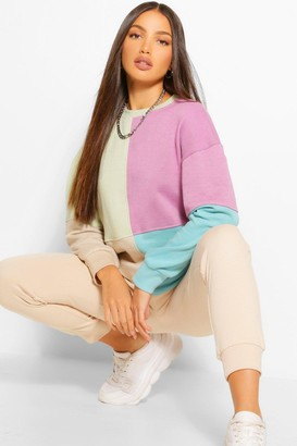 boohoo Tall Colour Block Oversized Long Sleeve Sweat