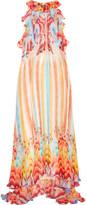 Temperley London Nymph Printed Silk-chiffon Halterneck Gown - UK16