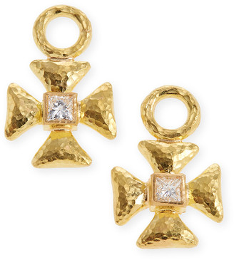 Elizabeth Locke 19k Diamond Maltese Cross Earring Pendants
