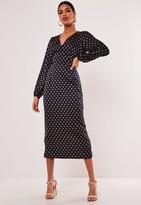 Missguided Navy Polka Dot Balloon Sleeve Midi Dress