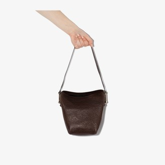 Lemaire Dark Brown Mini Folded Leather Tote Bag