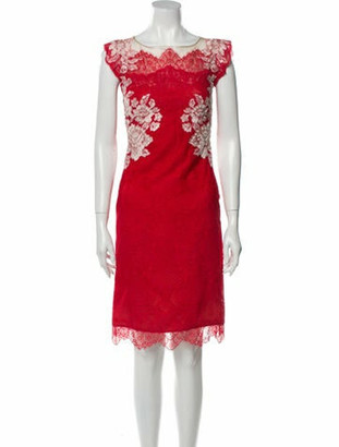Marchesa Lace Pattern Knee-Length Dress Red