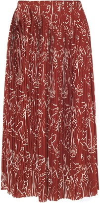Nina Ricci Pleated Printed Crepe Midi Skirt