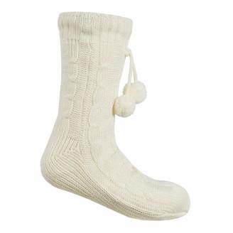 Forever Dreaming Ladies Cable Knit Slipper Socks (Cream)