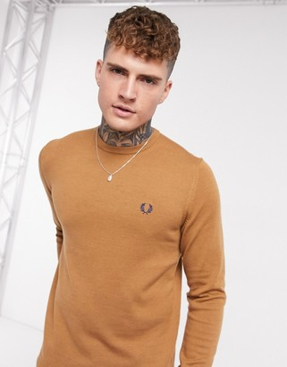 Fred Perry crew neck sweater in tan