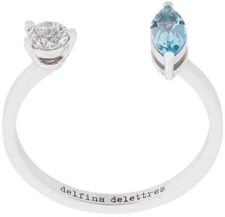Delfina Delettrez Dots Solitaire aquamarine and diamond ring