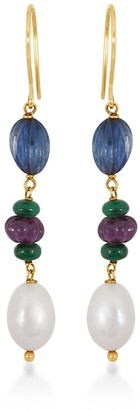 Rakam Jewellery Carved Emerald, Ruby & Sapphire Drop Earrings In 18K Yellow Gold