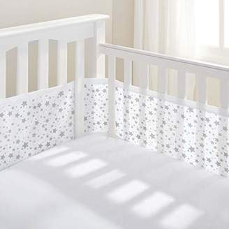 BreathableBaby Mesh Liner Twinkle Grey, 4 Sided cot