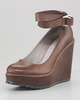 Brunello Cucinelli Ankle-Wrap Platform Wedge