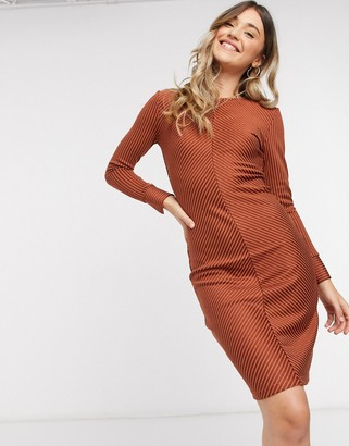 JDY tabby bodycon midi dress in orange stripe