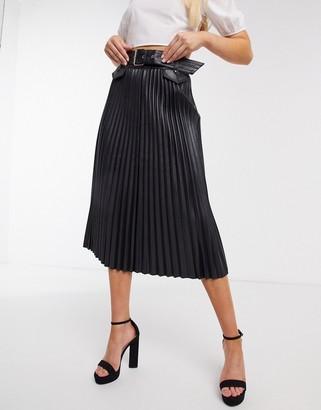 Morgan PU pleated midi skirt with belt in black