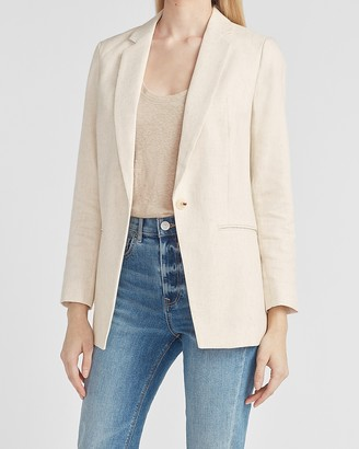 Express Woven One Button Long Sleeve Boyfriend Blazer