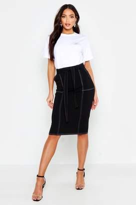 boohoo Contrast Stitch Pocket Detail Midi Skirt