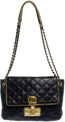 Marc Jacobs Navy Blue Quilted Leather Flap Crossbody Bag