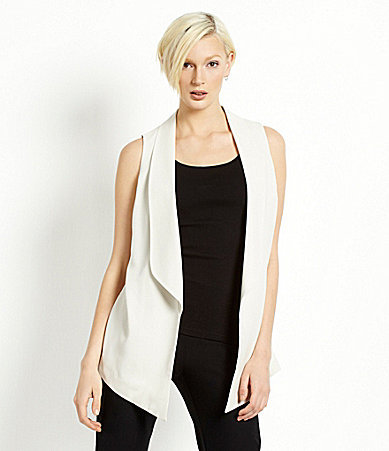 Eileen Fisher Shawl-Collar Silk Crepe Vest