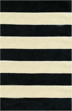 Bronx Ivy Ansorge Stripes Hand-Tufted Black/Beige Area Rug Ivy