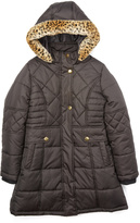 KC Collections Black Long Quilted Puffer Coat - Girls
